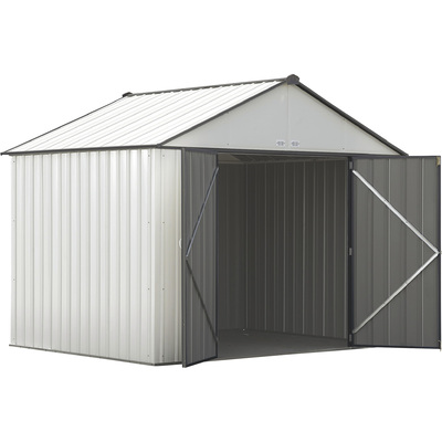FREE SHIPPING — Arrow EZEE Shed Steel Storage Shed— 10ft. x 8ft., High Gable, Cream with Charcoal Trim, Model# EZ10872HVCRCC