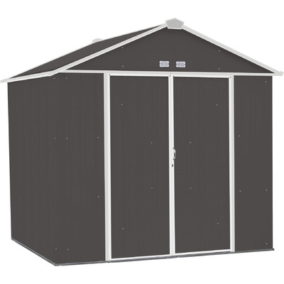 FREE SHIPPING — Arrow EZEE Shed Steel Storage Shed— 8ft. x 7ft., High Gable, Charcoal with Cream Trim, Model# EZ8772HVCCCR