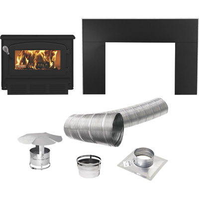 Drolet Escape 1400-I Wood Insert Trio — 60,000 BTU, EPA Certified, Includes Faceplate and Venting Kit, Model# DB03122K