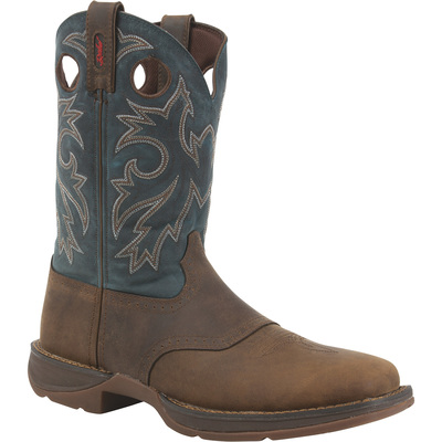Durango Men's 11in. Western Pull-On Work Boots —Tan/Navy, Size 10 Wide, Model# DB016