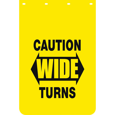 Buyers Products Caution Wide Turns Polymer Mud Flaps — Pair, 24in. x 36in., Model# B2436YC