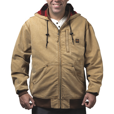 Walls Weathered 10-Oz. Duck Hooded Jacket — Washed Pecan, XL, Model# YJ339WPC9