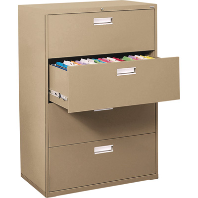 Sandusky Lee 600 Series 4-Drawer Lateral File Cabinet — Sand, 36in.W x 19 1/4in.D x 53 1/4in.H., Model# LF6A364-04