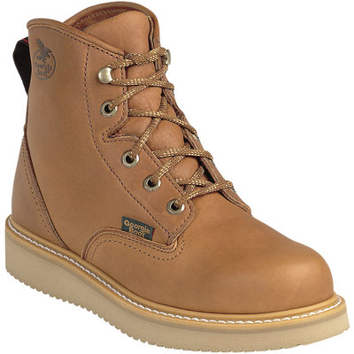 FREE SHIPPING — Georgia Men's 6in. Wedge Work Boots - Barracuda Gold, Size 9 1/2, Model# G6152