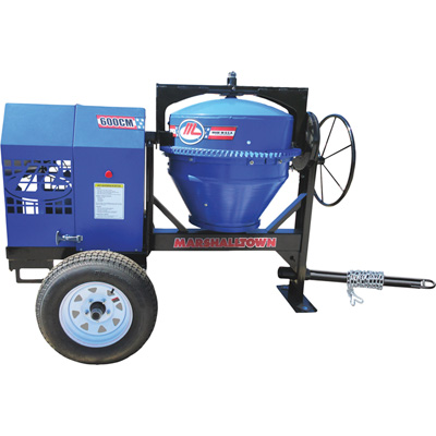 Marshalltown 600CM Concrete Mixer with Poly Liner, Pintle Hitch and 1.5 HP Electric Engine— 6 Cubic Ft. Mixing Capacity, Model# MIX59405