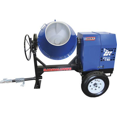 FREE SHIPPING — Marshalltown 600CM-PL Concrete Mixer with Poly Liner, Ball Hitch and 8 HP Gas Engine — 6 Cubic Ft. Mixing Capacity, Model# MIX59402B
