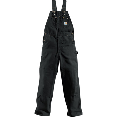 Carhartt Duck Unlined Bib Overall — Black, 32in. Waist x 34in. Inseam, Model# R01