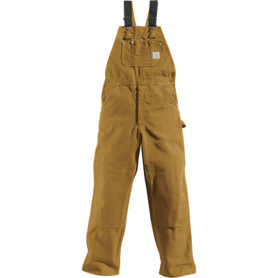 Carhartt Men's Duck Unlined Bib Overall, Model# R01