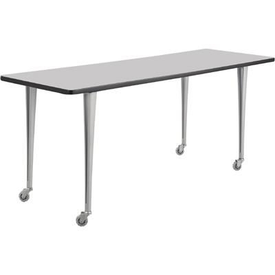 Safco Rumba Post-Leg Rectangular Table with Casters — 72in. x 24in., Gray/Silver, Model# 2092GRSL