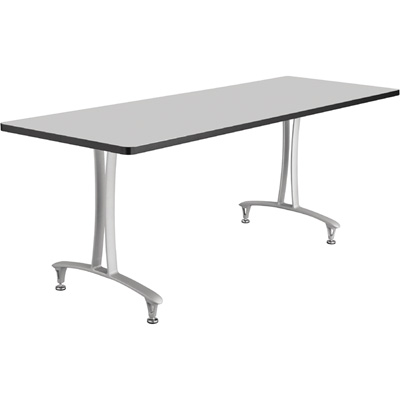 Safco Rumba T-Leg Rectangular Table with Glides — 72in. x 24in., Gray/Silver, Model# 2097GRSL