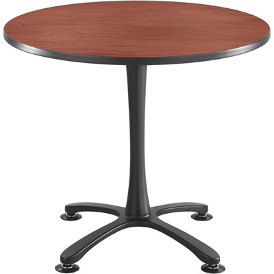 Safco Cha-Cha 36in. Round Sitting-Height Table with X-Style Base – Cherry/Black, Model# 2472CYBL