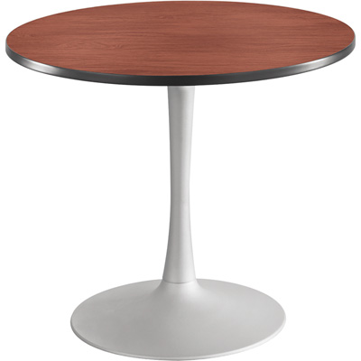 Safco Cha-Cha 36in. Round Sitting-Height Table with Trumpet Base – Cherry/Silver, Model# 2477CYSL