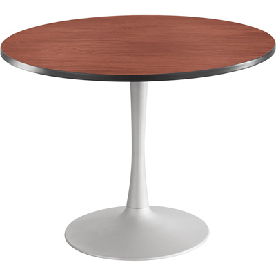 Safco Cha-Cha 42in. Round Sitting-Height Table with Trumpet Base – Cherry/Silver, Model# 2479CYSL