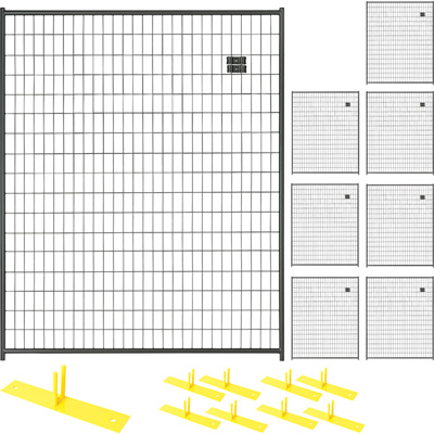 Jewett-Cameron 8-Panel Perimeter Patrol Kit — Black, Temporary Fencing Panels, Each 5ft. x 6ft., Model# RF 1010 WWP
