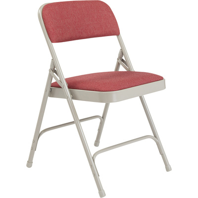 National Public Seating Steel Folding Chair with Fabric Padded Seat and Back — Set of 4, Cabernet/Grey, Model# 2208