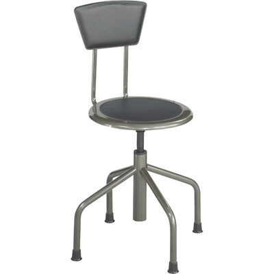 Safco Diesel Low Base Steel Counter Stool with Back — 15in. Dia. x 30-36in.H, Pewter, Model# 6668