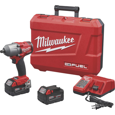 FREE SHIPPING — Milwaukee M18 FUEL Cordless Brushless Mid-Torque Impact Wrench Kit with Pin Detent — 1/2in. Drive, 600 Ft.-Lbs. Torque, 2 Batteries, Model# 2860-22
