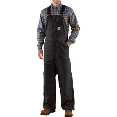 Carhartt Men's Flame-Resistant Quilt-Lined Duck Bib Overalls - 40in. Waist x 34in. Inseam, Black, Model# 101626