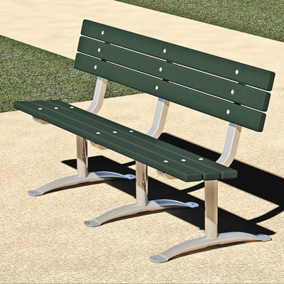 Pilot Rock 6ft. Park Bench — Green, Plastic, Model# PCXB/G-6PN24