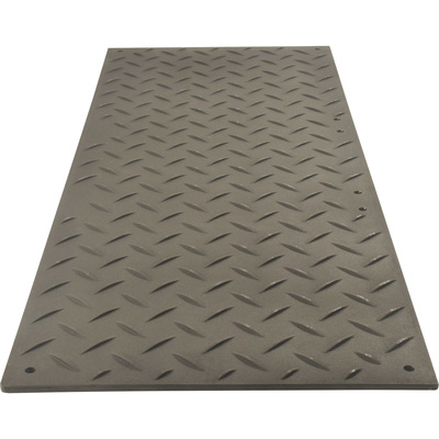 TuffTrak AlturnaMAT Ground Protection Mat — Black, 8ft.L x 3ft.W, Diamond Plate Tread Design, Model# AM38