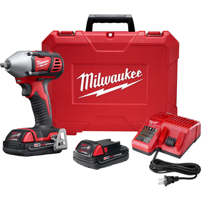 FREE SHIPPING — Milwaukee M18 3/8in. Impact Wrench Kit — With 2 Batteries, 18 Volt, Model# 2658-22CT