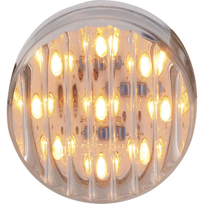Trux Accessories Ribbed LED Marker Light — 2in. Round, 9 Diodes, Clear Amber, Model# TLED-2TA