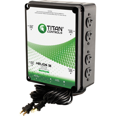 Sunlight Supply Titan Controls Helios 12 8-Light Controller with Dual Trigger Cords — 240 Volts, 60 Hz, 50 Amp Input/40 Amp Output
