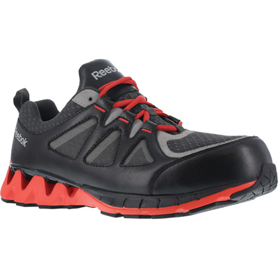FREE SHIPPING — Reebok Work Men's ZigKick Athletic Safety Toe Shoes - Black/Red, Size 8, Model# RB3000