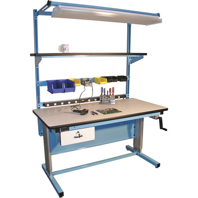 Pro-Line Hand-Crank, Height-Adjustable Plastic Laminate Workbench — White/Light Blue, 60in.W x 30in.D x 30–42in.H, Model Q