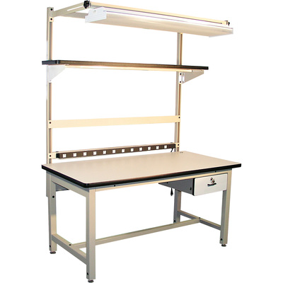 Pro-Line Plastic Laminate and Steel Workbench Kit — White/Beige, 72in.W x 30in.D x 30–36in.H, Model C