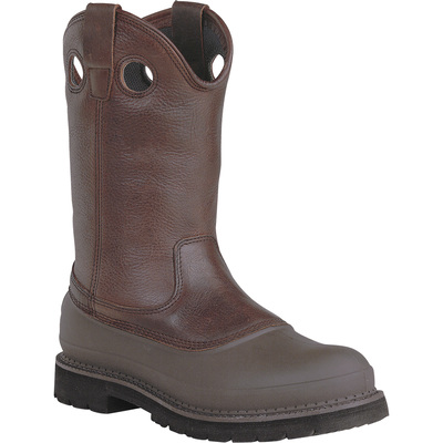 Georgia Men's 11in. Muddog Pull-On Steel Toe Comfort Core Work Boot - Brown, Size 9 1/2 Wide, Model# G5655