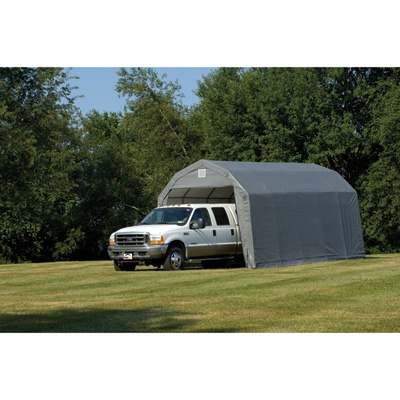 ShelterLogic 12Ft.W Homestead Barn Style Garage — 28ft.L x 12ft.W x 11ft.H, Gray, Model# 90253