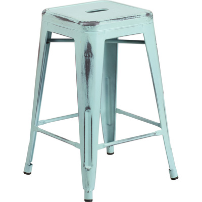 Flash Furniture Backless Distressed Metal Counter Stool — 24in.H, Green-Blue, Model# ETBT350324DB