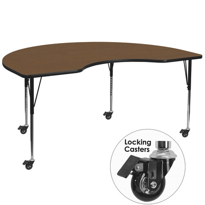 Flash Furniture Kidney-Shape Activity Table with Casters — 48in. x 72in., Oak, Model# XUA4872KIDOKHAC