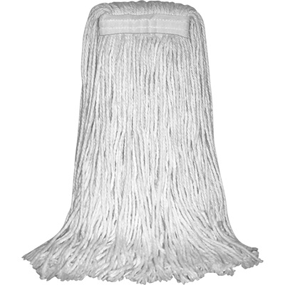 Performance Plus #20 Cotton 4-Ply Cut-End Wet Mop Heads, Model# P09003 — White, 12-Pack, For Use with Quick Change Wood Handle, Model# P16070