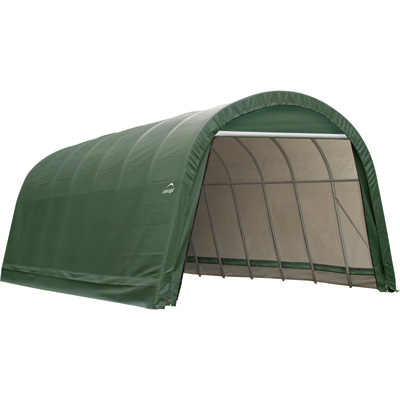 ShelterLogic 14-Ft.W Round-Style Instant Garage — 28ft.L x 14ft.W x 12ft.H, 2 3/8in. Frame, Green, Model# 95350