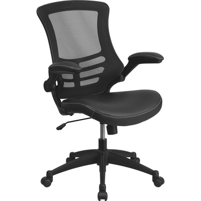 Flash Furniture Mid-Back Mesh/Leather Swivel Task Chair with Nylon Base — Black, Model# BLX5MLEA