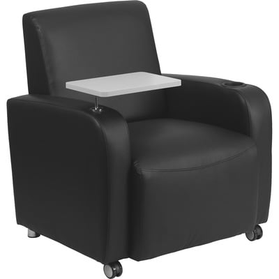 Flash Furniture Leather Tablet Chair with Casters — Black, Model# BT8217BKCS