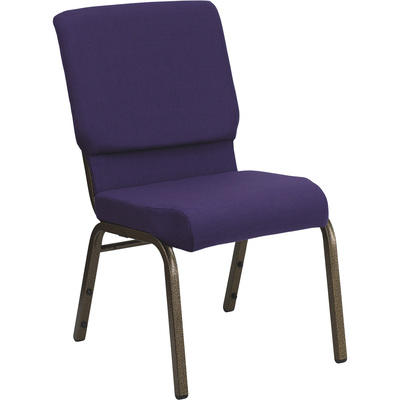 Flash Furniture Fabric Church Chair — Purple w/Gold Vein Vein Frame, 19in.W x 24in.D x 33in.H, Model#  FDCH185GVROY