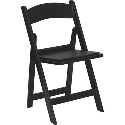 Flash Furniture Resin Folding Chair with Removable Vinyl Seat Cushion — Black, 17.5in.W x 18in.D x 30.75in.H, Model# LEL1BLACK