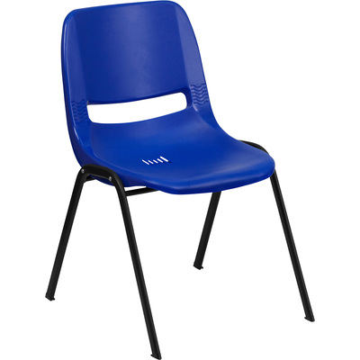 Flash Furniture Plastic Student Stack Chair —Blue w/ Black Frame, 21in.W x 23in.D x 32.125in.H, Model# RUTEO1BL