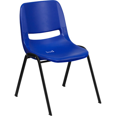 Flash Furniture Plastic Student Stack Chair — Navy w/Black Frame, 15.25in.W x 19.25in.D x 24.5in.H, Model# RUT14NVYBK