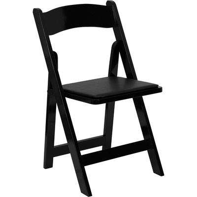 Flash Furniture Wood Folding Chair with Detachable Vinyl Seat — Black, 17.5in.W x 17in.D x 30.5in.H, Model# XF2902BLACK