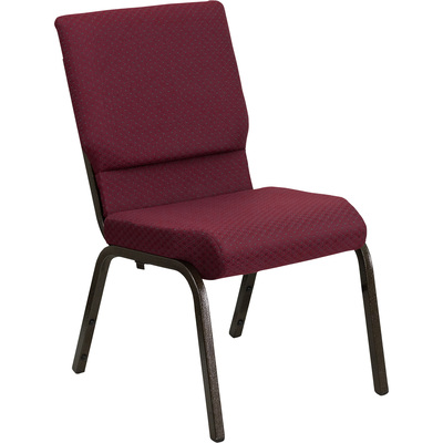Flash Furniture Fabric Church Chair — Burgundy Pattern w/Gold Vein Frame, 19in.W x 24in.D x 33in.H, Model# XUCH60096BYXY56