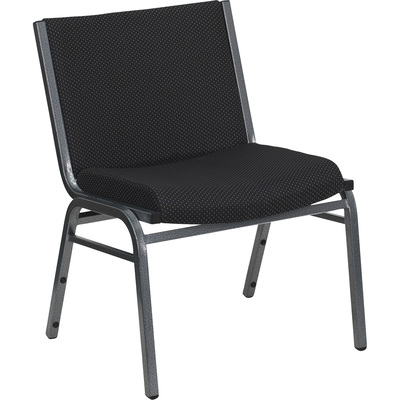 Flash Furniture Fabric Metal Stack Chair — Black w/Silver Vein Frame, 1,000-Lb. Capacity, Model# XU60555BK