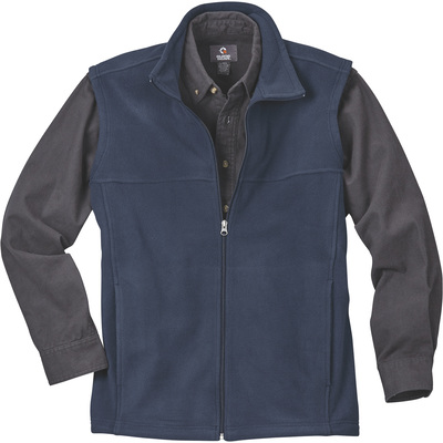 FREE SHIPPING — Gravel Gear Men's Zip-Up Fleece Vest — Navy, Large