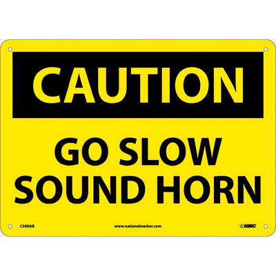 National Marker CAUTION, GO SLOW SOUND HORN Sign — 10in. x 14in., Aluminum, Model# C500AB