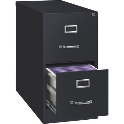Hirsh Industries 2-Drawer File Cabinet — Black, 15in.W x 26.5in.D x 28.4in.H, Model# 14416