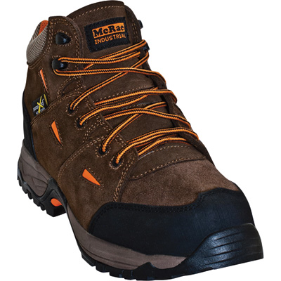 McRae Men's 5in. Industrial Work Hiker Boots with Metatarsal Guards and Composite Toes - Brown/Orange, Size 8 1/2 Wide, Model# MR83701