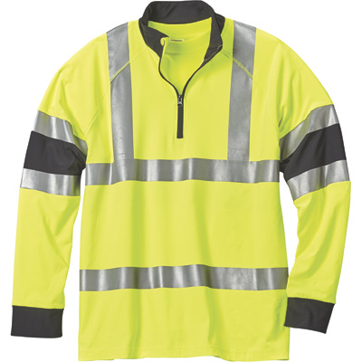 FREE SHIPPING — Gravel Gear Men's Class 3 High Visibility 6.9-Oz. Quarter-Zip Mock Shirt — Lime, 2XL
